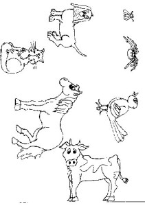 Printable characters from old lady who swallowed a fly story. Print yours.
