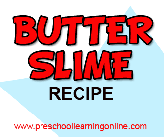 Fun butter slime recipe and ingredients for kids.