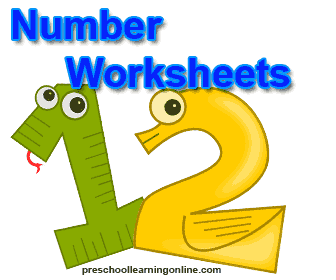 Number worksheets and printable pages for kids