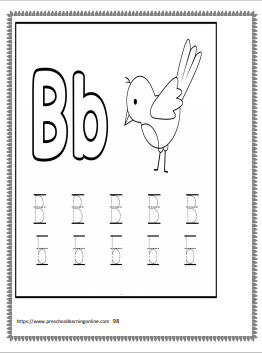 Letter B letter tracing worksheets for preschool and kindergarten children learning to print.