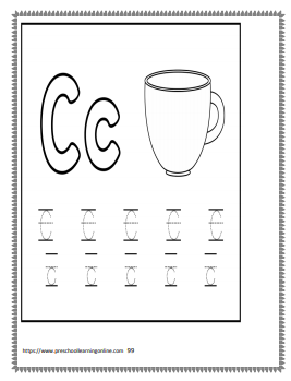 Letter C letter tracing worksheets and printables for children learning to print.