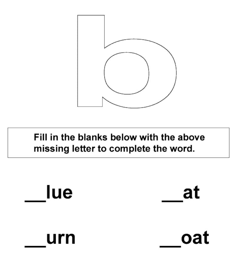 Fill in the missing letter b worksheet for kids