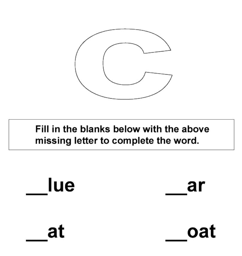Fill in the missing letter c worksheet for kids