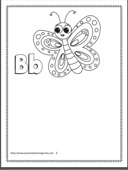 Letter B preschool worksheet