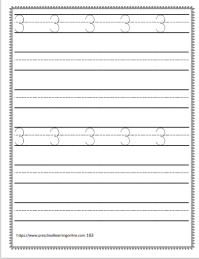 Number trace worksheets for children learning to print their numbers.
