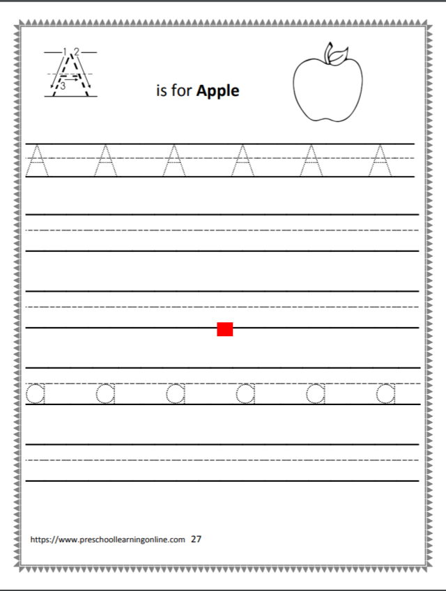 Uppercase letter A worksheet for preschool, kindergarten