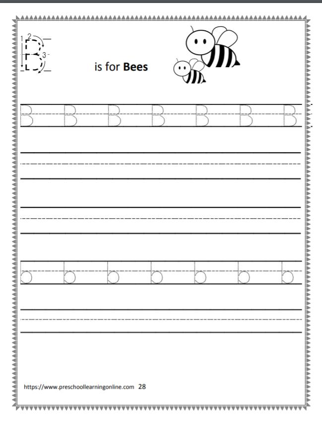 Uppercase letter B worksheets for kindergarten and preschool kids