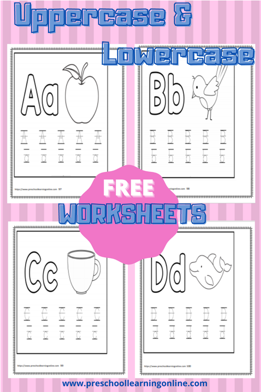 Uppercase and lowercase letter tracing worksheets for children learning to print.