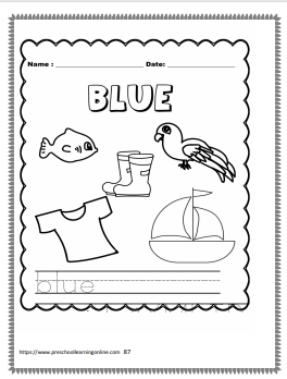 Colors word tracing worksheets for preschool and kindergarten