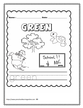 Names od colors word tracing worksheets