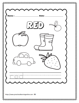 Naming colors word tracing worksheets for kids.