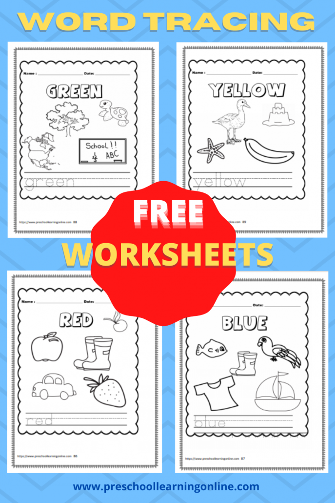 Names of Colors Word Trace Worksheets for Pre K and Kindergarten.
