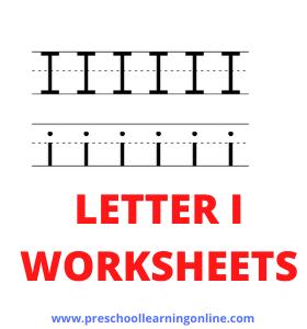 Letter i worksheets for preschool and kindergarten teaching.