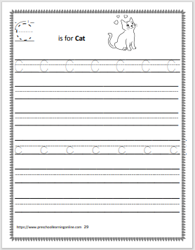 Letter c worksheets for tracing the letter c.