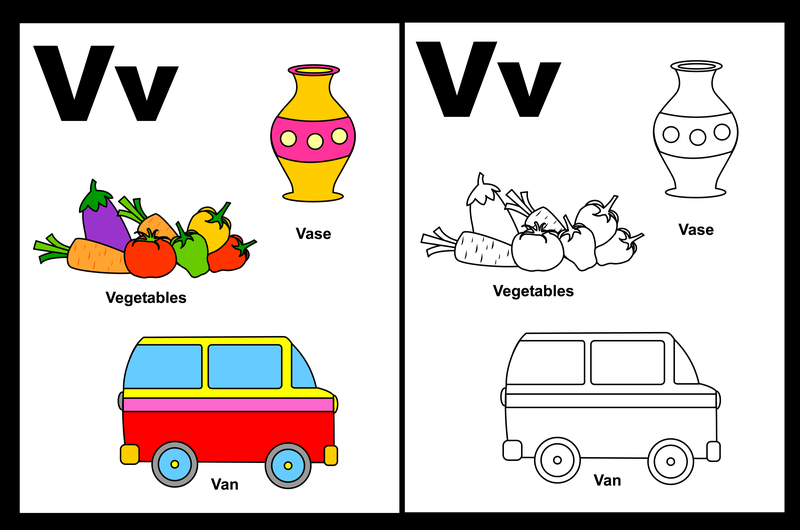 Letter V Words and Pictures Printable Cards: Van, Vacuum, Vest ...